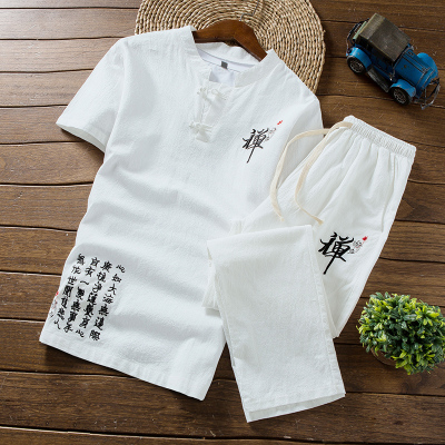 花花公子貴賓夏季男士短袖t恤套裝中國風棉服佛系男裝青年休閑一套夏裝