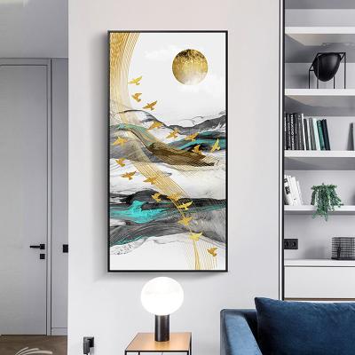 舒廳 玄關裝飾畫現代輕奢晶瓷畫金色琉璃抽象山水掛畫客廳沙發背景壁畫美 極光C款(拉絲黑色)鋁合金外框高140*寬70cm