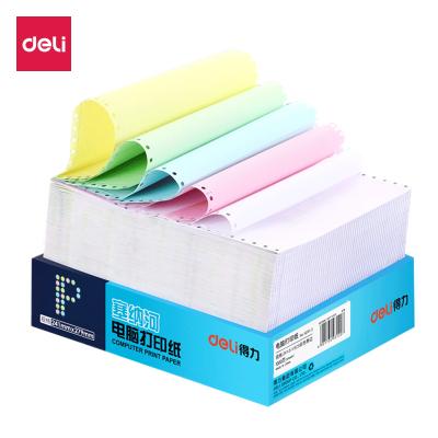 得力deli電腦打印紙241-2 二聯(2層)二等分發貨單送貨單 彩色可撕邊清單憑證1000張/包