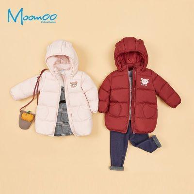 【2件2.5折價:149.8】moomoo童裝女幼童羽絨服新款冬裝小寶寶時尚鴨絨保暖外套