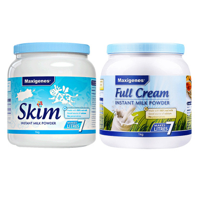 2件裝| Maxigenes美可卓全脂+脫脂 奶粉 1kg/罐 澳洲進口 進口奶粉 藍胖子