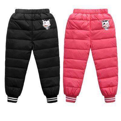 童裝兒童羽絨褲男童女童寶寶加厚保暖冬季外穿嬰幼兒高腰內膽棉褲 莎丞