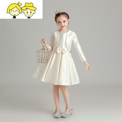 女童洋气长袖公主裙蓬蓬裙儿童主持人走秀礼服女孩钢琴演出服冬季