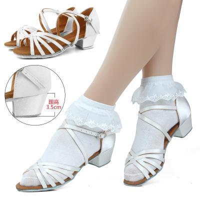 儿童拉丁舞鞋女孩跳舞舞蹈鞋专业少儿中跟舞鞋女童软底练功鞋凉鞋户外运动儿童成人学生