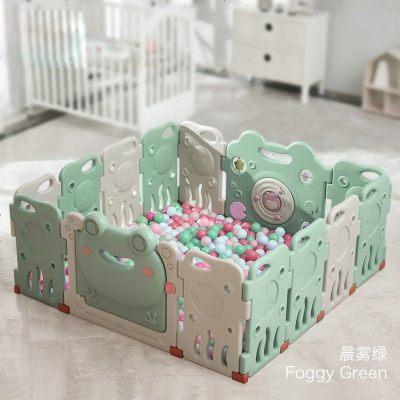 babycare兒童室內游戲圍欄嬰兒寶寶爬行墊學步防護欄家用安全柵欄 晨霧綠 12+2 147*14