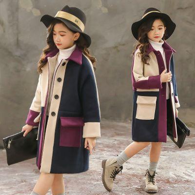 女童毛呢外套2019新款冬装加厚中长款韩版呢子大衣女孩童装洋气潮威珺