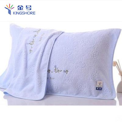 金號枕巾純棉2條裝全棉素色繡花居家情侶柔軟透氣不掉毛枕頭毛巾