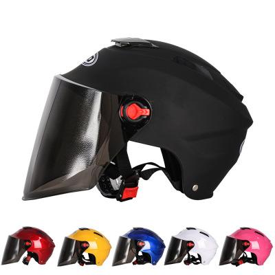 友用行頭盔電動摩托車頭盔四季男女士半盔防曬頭盔 夏季頭盔安全帽防曬鏡片