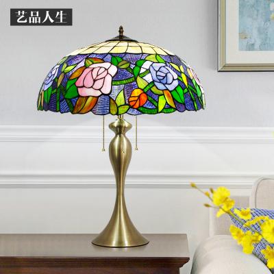 北欧田园客厅复古台灯led玻璃装饰床头灯卧室书房节能创意灯饰