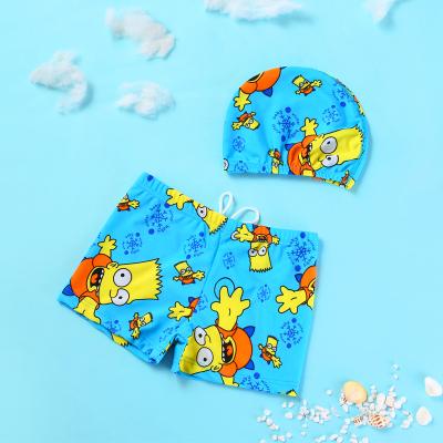 儿童泳裤泳帽男童温泉泳衣平角泳裤卡通幼婴儿宝宝