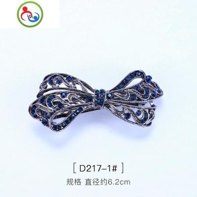 新款鑲嵌水晶蝴蝶結發夾飾品時尚水鉆頂夾合金發彈簧夾飾品 JING PING水晶頭飾