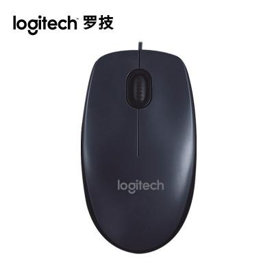 羅技M90 有線鼠標USB筆記本鼠標電腦游戲家用辦公光電鼠標 黑色