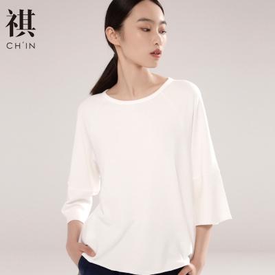 【3件1.5折价:39】CHIN祺早秋五分袖上衣白色T恤女装宽松文艺风学生半袖上衣蝙蝠袖
