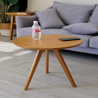 枳记家 北欧现代简约小户型日式圆形组合套几套桌白橡木小咖啡桌实木茶几