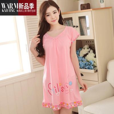 2020新款睡裙女士夏季純棉短袖可愛寬松加大碼孕婦甜美夏天睡衣裙 SHANCHAO