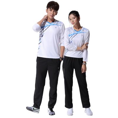 新款羽毛球服男女秋冬长袖t恤上衣运动服圆领透气排汗套装长裤
