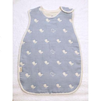 日本蘑菇嬰幼兒背心睡袋春夏薄款寶寶紗布睡袋兒童防踢被夏季三層
