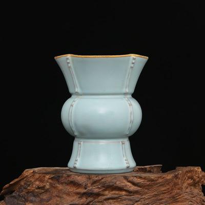 宋 汝窑 天蓝釉 带支钉 包金 汝窑樽 古董瓷器古玩古瓷器老货收藏