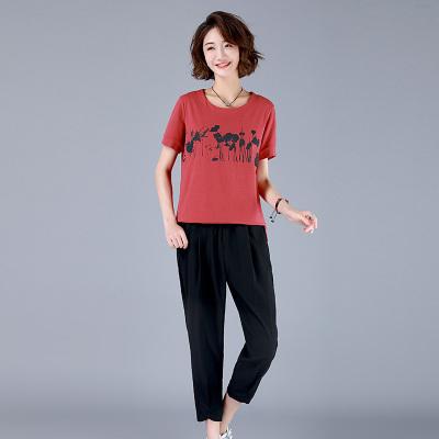 班俏(BANQIAO 夏裝2020年新款休閑套裝女寬松時尚印花T恤格子褲腿褲兩件套女休閑運動套裝女裝