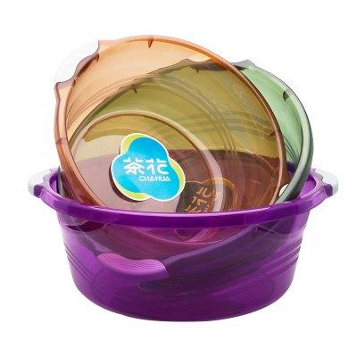 茶花(CHAHUA)洗脸盆学生宿舍用套装加厚塑料婴儿大透明盆子家用大号洗衣盆