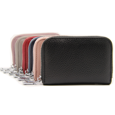 新款頭層牛皮風琴卡包RFID防盜女士卡夾男士卡片包短款多功能拉鏈小錢包 女