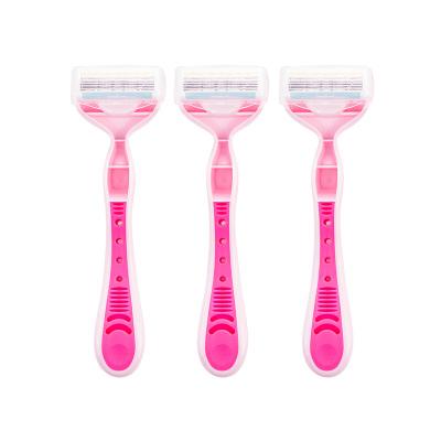 kai贝印 原装进口 刮毛刀女用安全手动剃刀粉红色三把装(含芦荟润滑) PK4-3B1