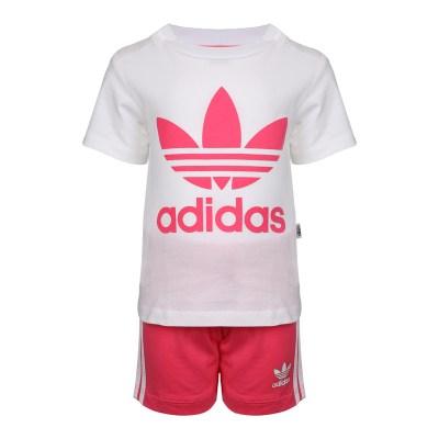 adidas kids阿迪達斯 三葉草 I SHORT TEE SET 女嬰童短袖 運動套裝 CE1996