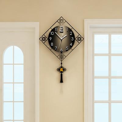 美世達中式表家用客廳鐘表掛鐘創意時尚時鐘現代時鐘靜音中國風紅