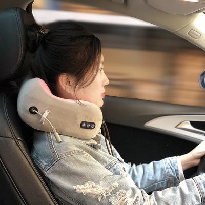 廠家直銷多功能u型按摩枕 電動脖子頸椎按摩器記憶棉車載護頸儀