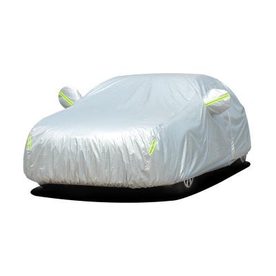 (牛津布加厚)ZHUAX汽车遮阳罩车衣车罩防晒罩防雨通用四季隔热车套外罩防冰雹遮阳挡全罩防尘罩外套车盖罩防盗银色