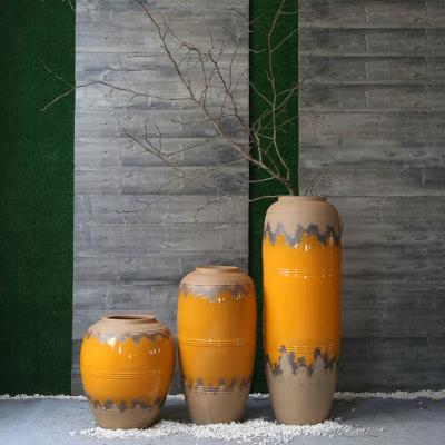 古笙記 粗陶復古懷舊陶罐花瓶實體店餐廳酒店落地大花插景德鎮陶瓷裝飾品