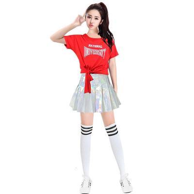女团演出服女套装现代跳爵士舞蹈服学生啦啦队服装韩版成人打歌服 3333+0012红衣银裙 S
