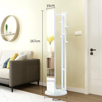 越茂穿衣鏡全身落地鏡實木框現代簡約客廳收納家居鏡旋轉試衣鏡子
