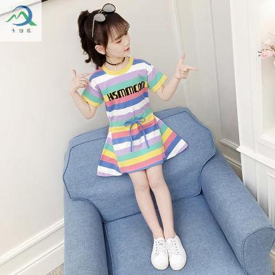【蘇寧星選】女童夏裝連衣裙2020新款兒童洋氣小女孩夏季休閑運動彩色條紋裙子 邁詩蒙