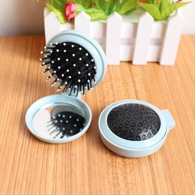 創意折疊鏡梳旅行小號隨身鏡化妝鏡便攜帶梳子鏡子可愛美妝鏡 定制