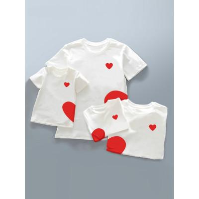 親子裝夏裝2018新款潮全家裝一家三口棉韓版母女母子裝愛心T恤