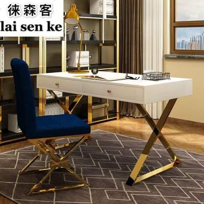 后現代北歐輕奢書桌椅組合書房辦公桌港式寫字臺簡約設計師電腦桌