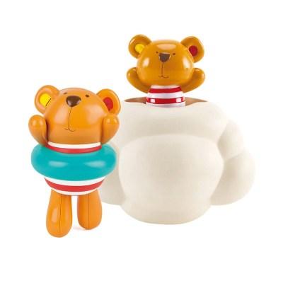 Hape泰迪洗澡2件套1-6歲發條可游泳可躲迷藏灑水浴室洗澡玩具兒童寶寶戲水玩具