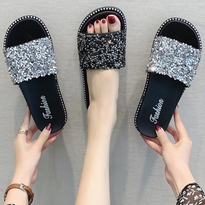 熱風京奢(REFENGJINGSHE) ins拖鞋女夏外穿2020新款韓版時尚水鉆厚底亮片網紅社會平底涼拖