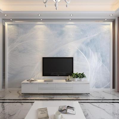 北歐電視閃電客背景墻紙藍色羽毛客廳沙發臥室墻布影視墻壁紙定制壁畫 歐式無縫絲綢布