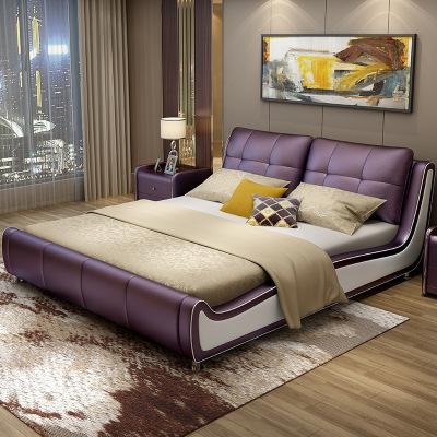 歐卡森(OUKASEN) 皮床 臥室雙人床 簡約現代臥室木質軟體床 皮藝真皮床 1.5米1.8米軟包雙人床婚床