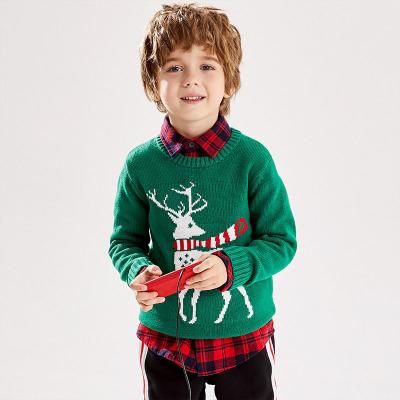 小豬班納童裝男童針織衫兒童圓領圣誕毛衣女純棉套頭線衣寶寶上衣