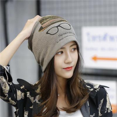 欣鴻茗(帽子圍脖二合一)秋冬帽子女韓版頭巾帽保暖多功能月子帽包頭帽