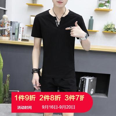 X-MAN中國風2020新款大碼夏季棉短袖T恤套裝男 刺繡短褲兩件套裝男M01