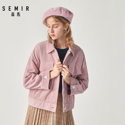 Semir森马夹克女2019冬季新款灯芯绒外套宽松chic翻领大口袋工装风学生