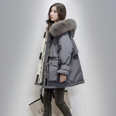 璞束(Porlsuu)羽绒棉服女中长款2019冬季新款韩版大码加厚时尚面包服学生宽松外套