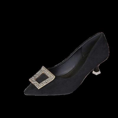 大碼女鞋39-43碼亮鉆腳寬胖妹妹尖頭淺口小高跟工作鞋8
