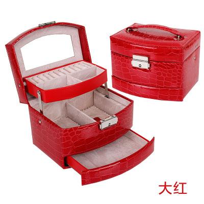 鱷魚紋自動首飾盒 皮革三層飾品盒收納 歐美珠寶首飾盒化妝箱 大紅色