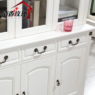 杞沐美式实木书柜带玻璃白色北欧书柜书架组合简约现代原木组装家用