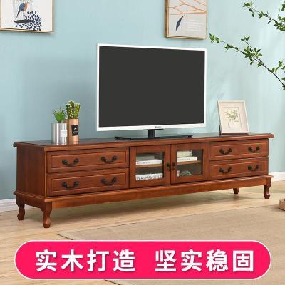 航竹坊 实木电视柜卧室现代简约地柜小户型客厅迷你美式茶几电视机柜组合